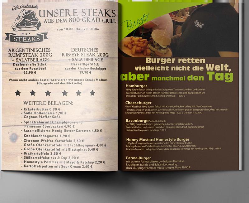 Steakkarte Café Cabana am Schwanenteich